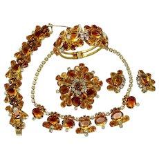 Vintage Juliana Book Piece Topaz Givre Rhinestone Necklace Bracelet Clamper Brooch Earrings Grand Parure