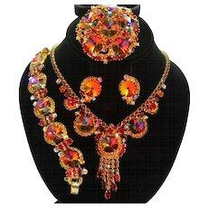 Vintage Juliana Book Piece Red Volcano Rivoli Rhinestone Necklace Bracelet Brooch Earrings Grand Parure