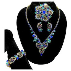 Vintage Juliana Book Piece Blue Oval Engraved Painted Flower Cabochon Rhinestone Necklace, Bracelet, Brooch and Earrings Grand Parure