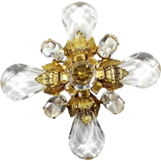 Vintage SCHREINER Clear Rhinestone Lucite Teardrop Bead Gold Leaf Maltese Cross Brooch