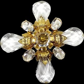 Vintage SCHREINER Clear Rhinestone Lucite Teardrop Bead Gold Leaf Maltese Cross Brooch