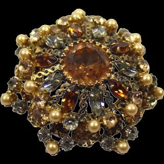 Vintage SCHREINER Gray Topaz Champagne Rhinestone Faux Pearl Metal Loops Brooch Pendant