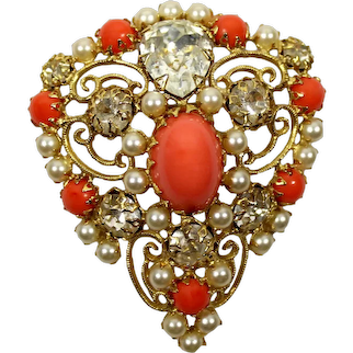 Vintage Signed SCHREINER Lucite Coral Cabochon Clear Rhinestone Faux Pearls Scrollwork Brooch Pendant