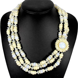 Vintage MIRIAM HASKELL 3 Strand Opaline Beads Flowers Pearls Blue Veined Art Glass Necklace Book Piece