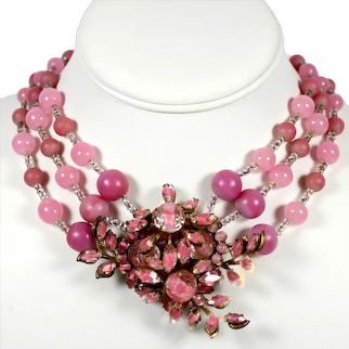 Vintage Miriam Haskell Signed 3 strand Pink Beads Givre Glass Floral Focal Necklace