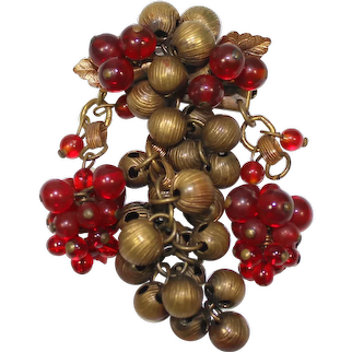 Vintage MIRIAM HASKELL Red Glass Textured Metal Bead Chain & Link Dangle Grape Brooch