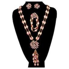 Vintage FRENCH Pink White Gripoix Poured Glass Burgundy Bead Rhinestone Sautoir Necklace Bracelet Earrings Parure