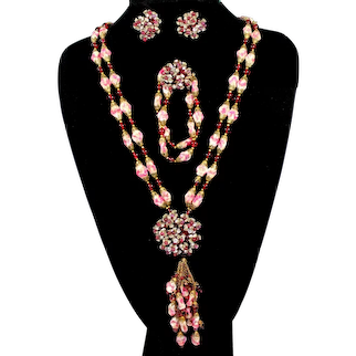 Vintage FRENCH Pink White Gripoix Poured Glass Burgundy Bead Rhinestone Sautoir Necklace Bracelet Earrings Parure