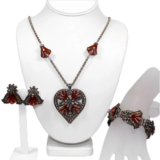 Vintage MIRIAM HASKELL Marcasite JaSPer Colored Heart Necklace Bracelet Earrings Parure