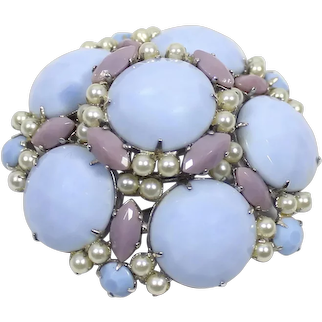 Vintage SIGNED SCHREINER Blue Lavender Milk Glass Faux Pearl Domed Brooch