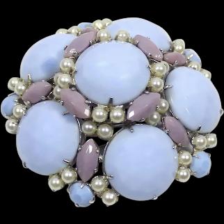 Vintage SIGNED SCHREINER Blue Lavender Milk Glass Faux Pearl Domed Brooch