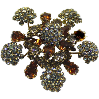 Vintage Signed SCHREINER Blue and Topaz Rhinestone Floral or Snowflake Brooch