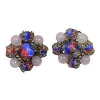 Vintage HOBE Blue Pink Givre Glass Bead Filigree Earrings
