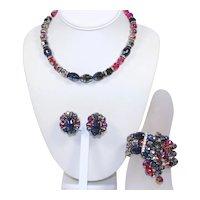 Vintage HOBE  Iridescent Carnival Glass Crystal Bead Rhinestone Necklace Wrap Bracelet Earrings Parure