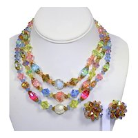 Vintage 3 strand RAINBOW Givre Pastel Fancy Cut Crystal Beads Necklace Earrings Demi Parure