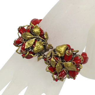 Vintage MIRIAM HASKELL Double Clasp Strawberry 4 strand RED Beads Metal Leaf Bracelet