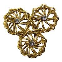 Vintage MIRIAM HASKELL Rhinestone Gilt Loop Wire Triple Abstract Flower Brooch