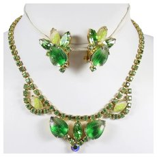 Vintage Green Striped Givre Rhinestone Leaf Necklace Earrings Demi Parure