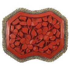 Vintage Chinese Carved Cinnabar Brooch