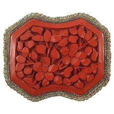 Vintage Chinese Carved Cinnabar Brooch