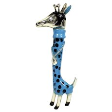 Vintage Blue and Black Enamel Giraffe in a Spotted Turtleneck Sweater with bling Necklace Brooch