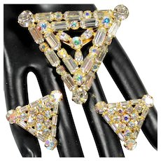 Vintage AB Clear Baguette Rhinestone Triangle Shaped Brooch Earrings Demi Parure