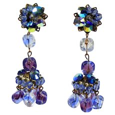 Vintage Bi-Color Purple Blue Glass Crystal Bead Rhinestone Chandelier Earrings