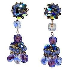 Vintage Bi-Color Purple Blue Glass Crystal Bead Rhinestone Chandelier Earrings