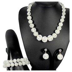 Vintage Lampwork Frit White Clear Glass Bead Necklace Bracelet Earrings Parure