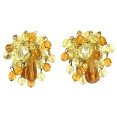 Vintage VOGUE  Yellow Amber Topaz Crystal Bead Waterfall Earrings