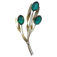 Vintage Sterling Silver Vermeil Green Rhinestone Flowering Leaf Brooch
