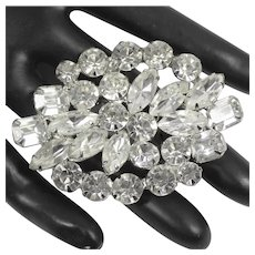 Vintage CLEAR RHINESTONE Cushion Cut Navette Brooch