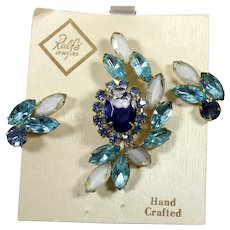 Vintage RALFE Blue White Givre Aqua Rhinestone Brooch Earrings Demi Parure NOS