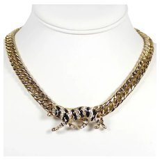 Vintage Black Enamel Clear Rhinestone Tiger Necklace