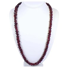 "Vintage 27"" Long 3/8"" Thick Garnet Clustered Beaded Opera Length Endless Woven Necklace"