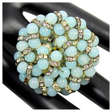 VINTAGE Powder Blue Glass Bead Rondel Rhinestone Trombone Clasp Brooch