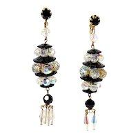 Vintage Black Margarita AB Crystal Bead Extra Long Dangle Earrings
