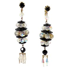Vintage Black Margarita AB Crystal Bead Extra Long Dangle Earrings