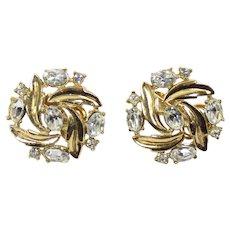 Vintage CROWN TRIFARI Clear Rhinestone Leaf Clip Earrings