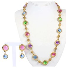 Vintage 1980's Pastel Rivoli Rhinestone Framed Station Long Necklace Dangle Earrings Demi Parure