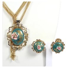 Vintage KJL Kenneth Jay Lane Porcelain Rose Painted Cabochon Necklace Earrings Demi Parure
