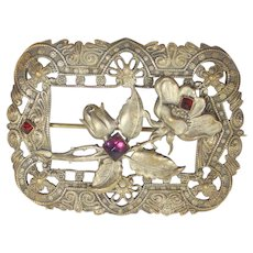 Vintage ART NOUVEAU Purple Red Paste Stones Flowering Sash Brooch