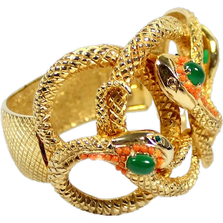 Vintage RARE CASTLECLIFF Egyptian Revival Faux Coral and Jade Cabochon Snakes Bracelet