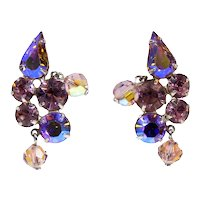 Vintage WEISS Lavender AB Rhinestone Crystal Bead Clip Earrings