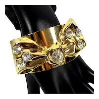 Vintage MADE IN ITALY Large Clear Rhinestone Dimensional Bow Cuff Bracelet