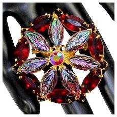 Vintage Red Rhinestone Iridescent Carved Art Glass Flower Wreath Brooch