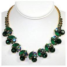 Vintage Green Rhinestone Corn Kernel Art Glass Necklace