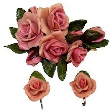 Vintage Pink Peach Resin Rose Flower Bouquet Brooch Earrings Demi Parure