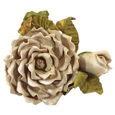 Vintage Champagne Resin Rose Flower Bouquet Brooch