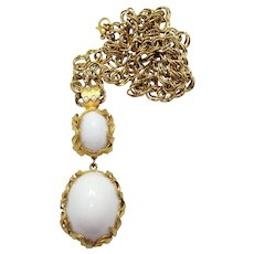 Vintage Juliana Book Piece Venus Flames White Cabochon Rhinestone Pendant Necklace